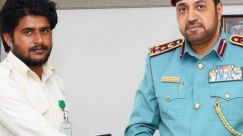 United Arab Emirates' police honoured the Pakistani expat, Muzaffar Hussain