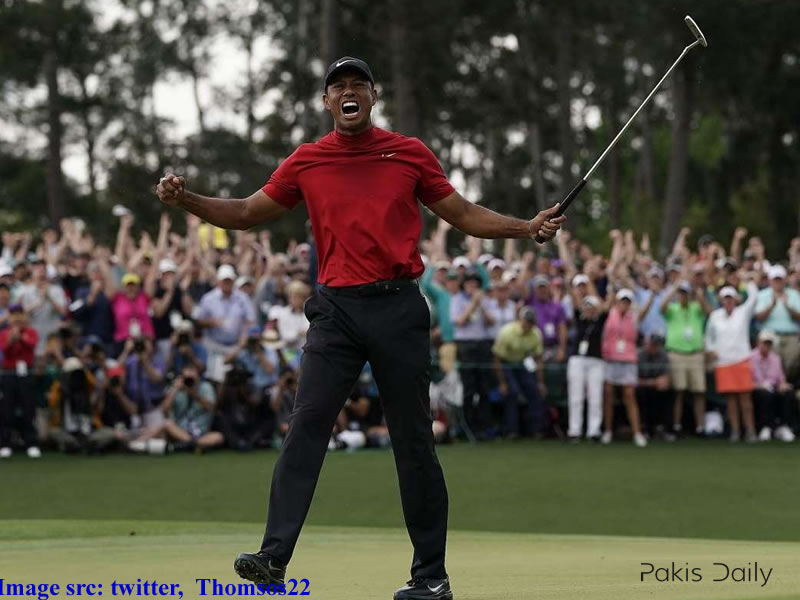 Tiger wins fifth green jacket in furious finish