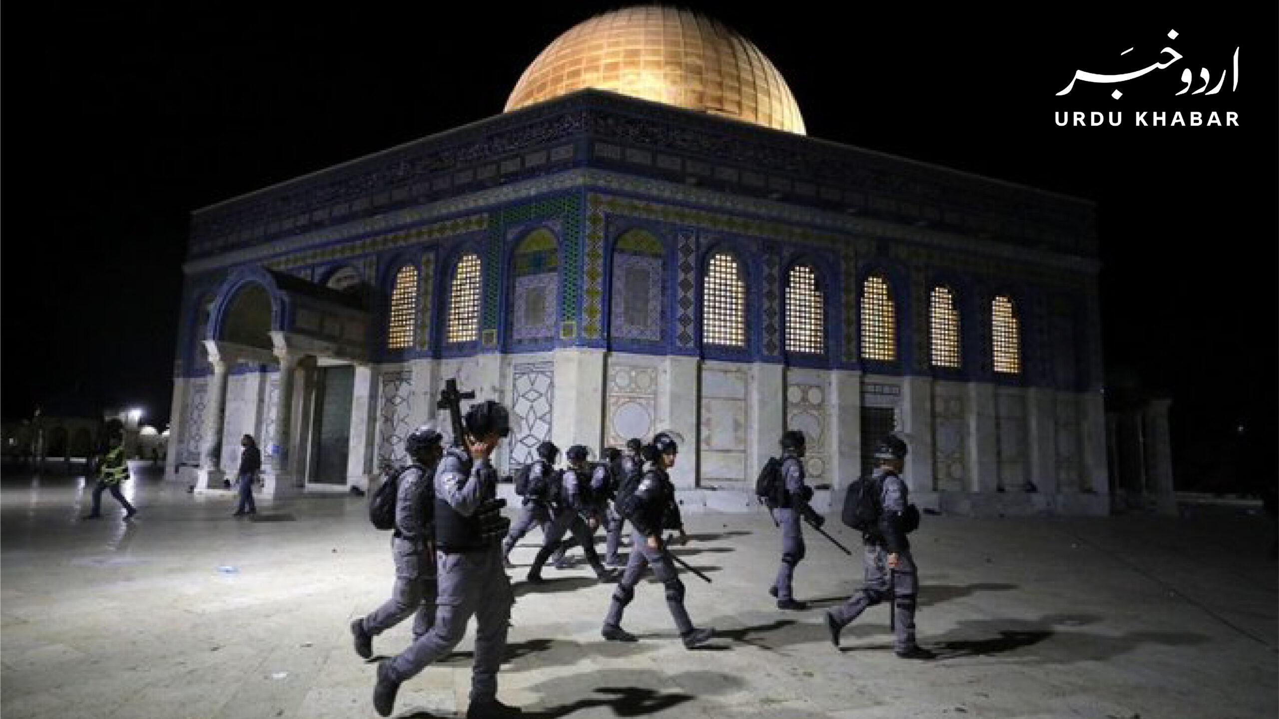 مسجد الاقصی میں اسرائیلی پولیس کا فلسطینیوں پر نماز تراویح کے دوران تشدد